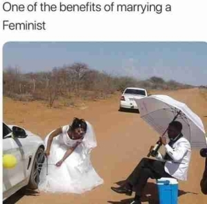 Hilarious! See One Of The Benefits Of Marrying A Feminist (Photo)